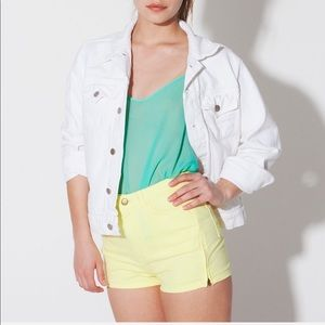 American apparel high waisted pale yellow shorts